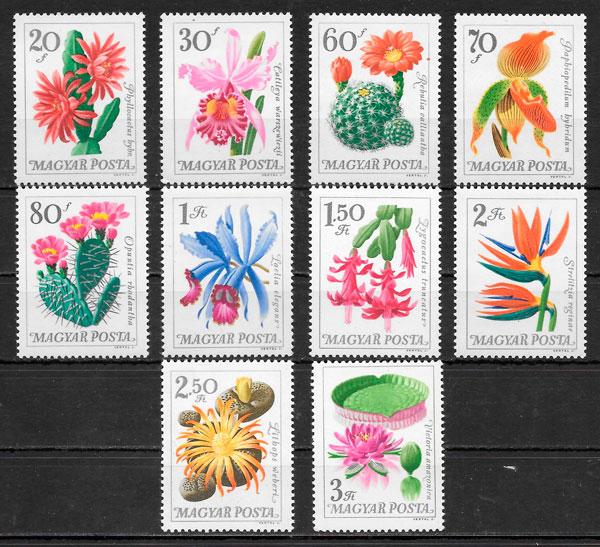 sellos flora Hungría 1965