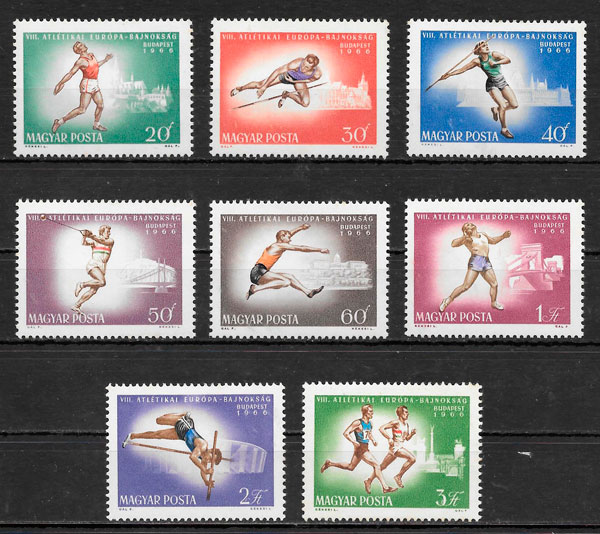 filatelia deporte Hungría 1966