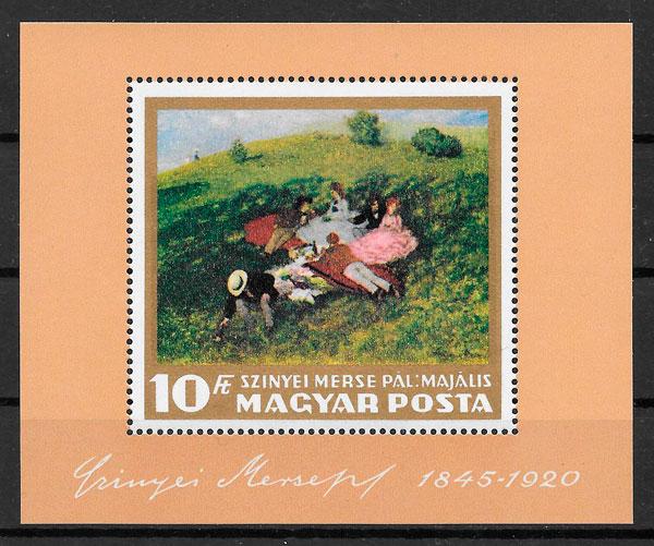 filatelia colección pintura Hungría 1966