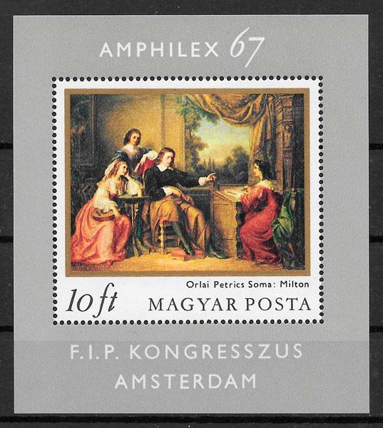 colección sellos pinturas Hungría 1967