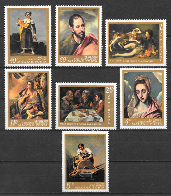 filatelia pintura Hungría 1968