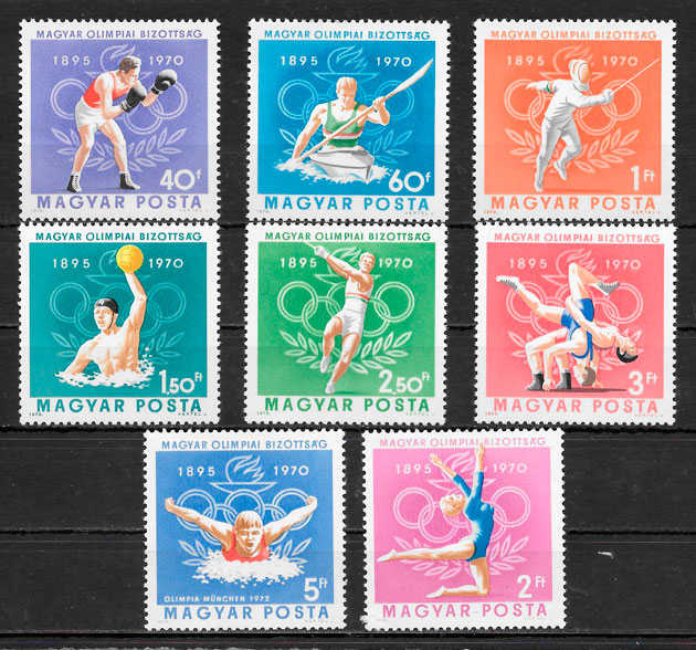 filatelia colección deporte Hungría 1970