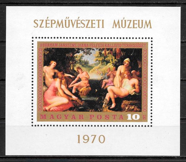 filatelia colección pintura Hungría 1970