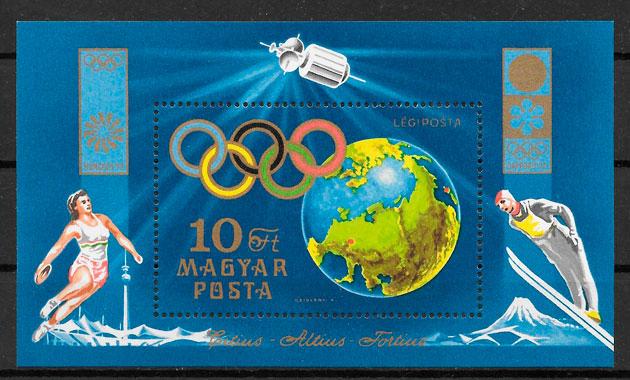 filatelia colección deporte Hungría 1972