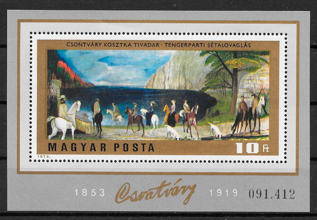 filatelia pintura Hungría 1973
