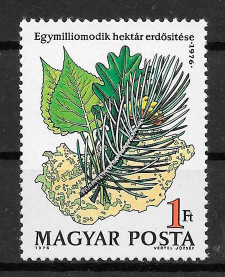 filatelia colección flora Hungría 1976