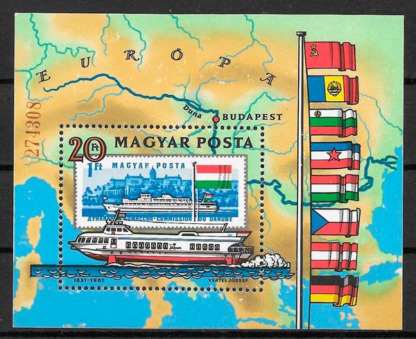colección sellos transporte Hungría 1981