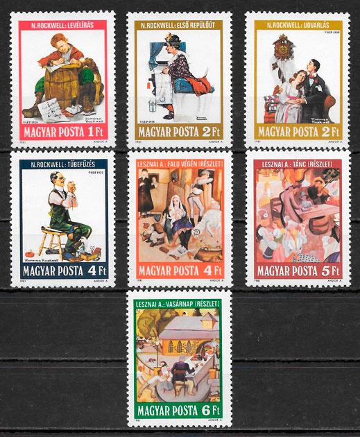 colección sellos arte Hungría 1981