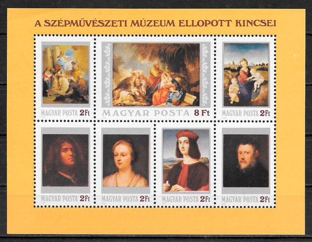 filatelia colección pinturas Hungría 1984