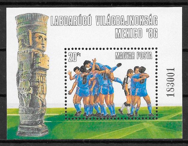 colección sellos fútbol Hungría 1986