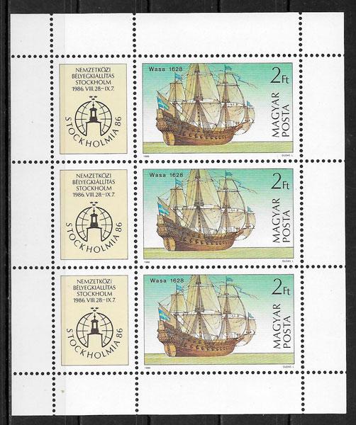 colección sellos transporte Hungría 1986