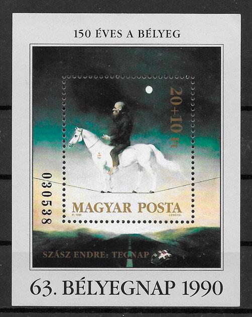 filatelia colección pintura Hungría 1990