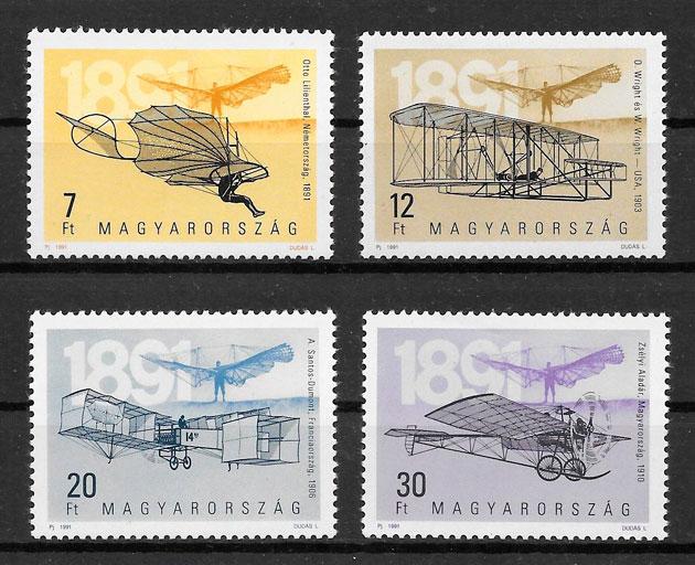 colección sellos transporte Hungría 1991