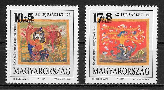 sellos pintura Hungría 1993