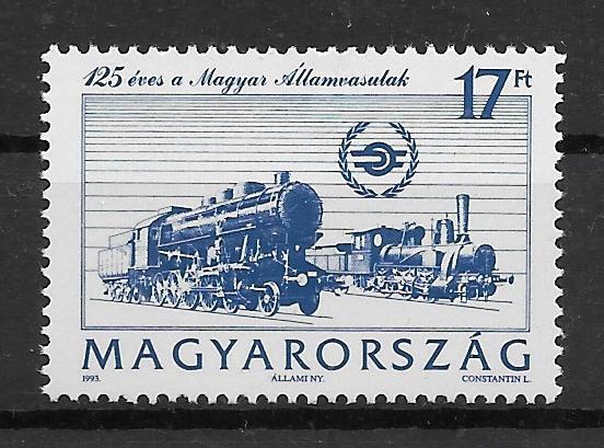 colección sellos trenes Hungría 1993