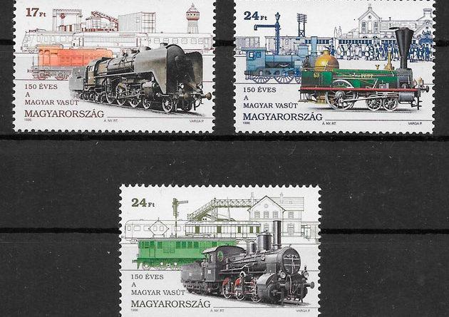sellos trenes Hungría 1996