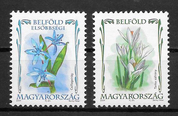 filatelia  coleccion flora Hungria 2009