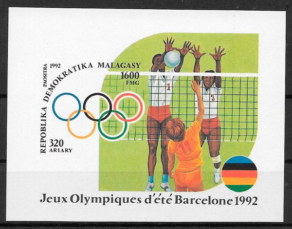 filatelia colección olimpiadas Madagascar 1992