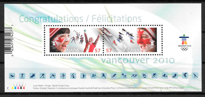 coleccion sellos deporte Canada 2010