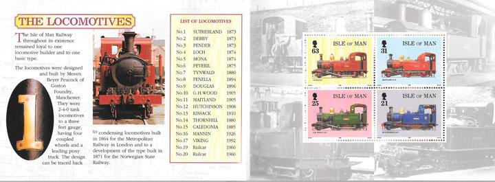 colección sellos trenes Isla de Man1998