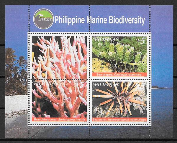 filatelia colección fauna Filipinas 1998