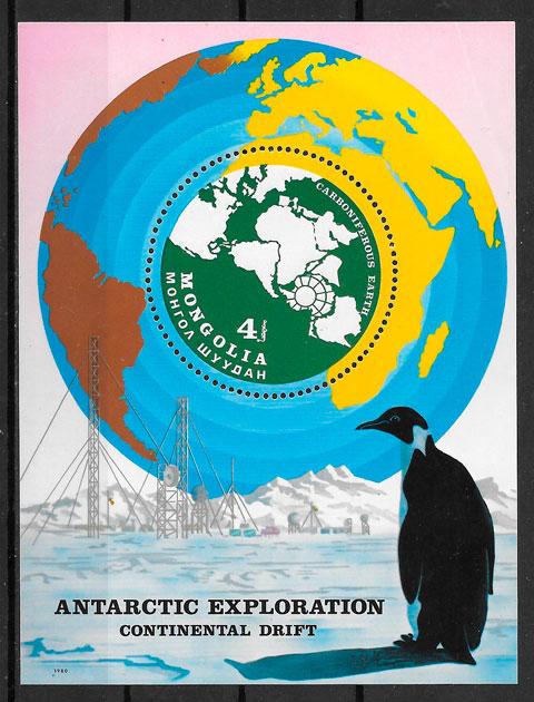 filatelia colección fauna Mongolia 1980