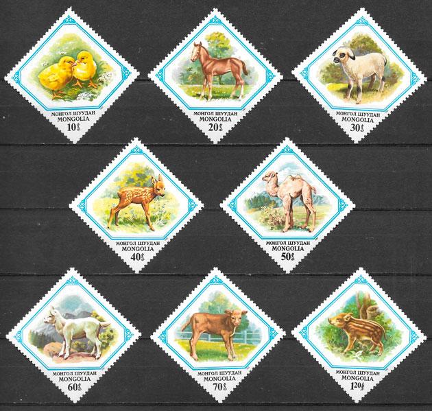 sellos fauna Mongolia 1982