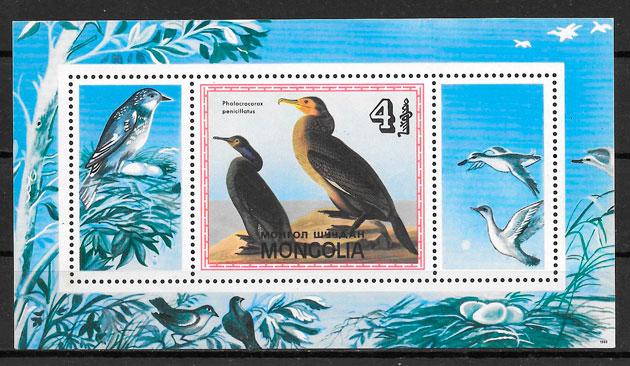 colección sellos fauna Mongolia 1985