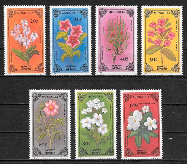colección sellos flora Mongolia 1986