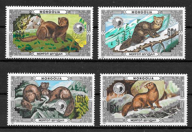 colección sellos fauna Mongolia 1986