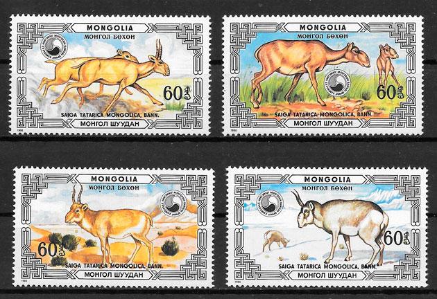 sellos fauna Mongolia 1986
