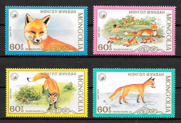 filatelia colección fauna Mongolia 1987
