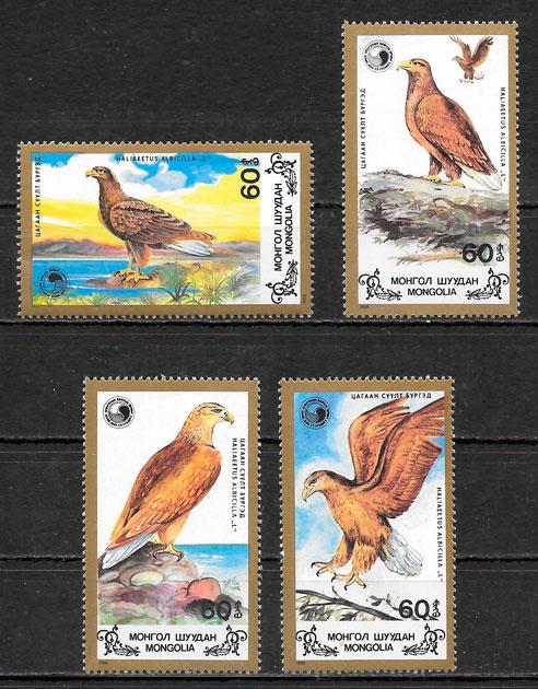 filatelia colección fauna Mongolia 1988