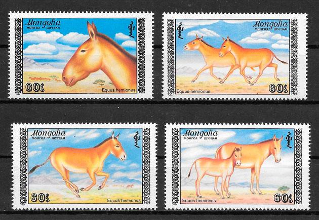 colección sellos fauna Mongolia 1988