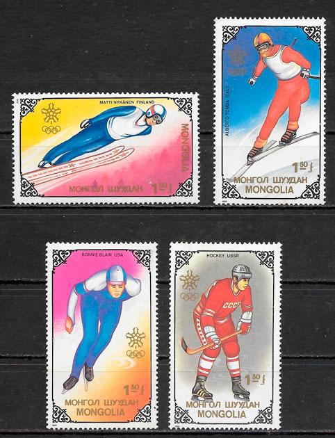 colección sellos deporte Mongolia 1988