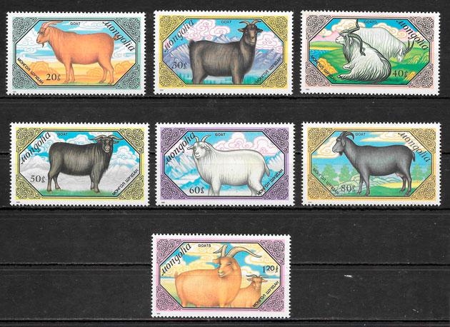 sellos fauna Mongolia 1989