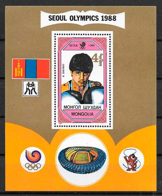 filatelia colección olimpiadas Mongolia 1989