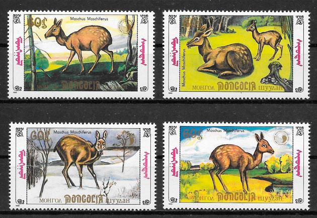 sellos fauna Mongolia 1990