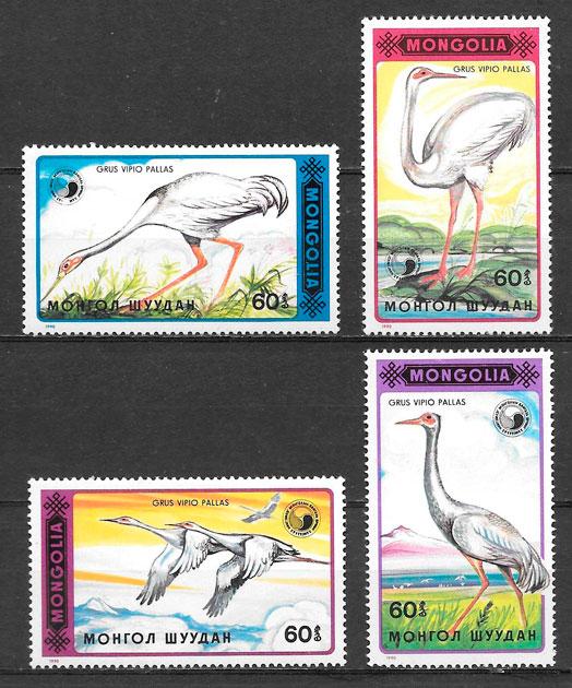 filatelia colección fauna Mongolia 1990