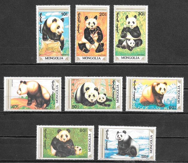 colección sellos fauna Mongolia 1990