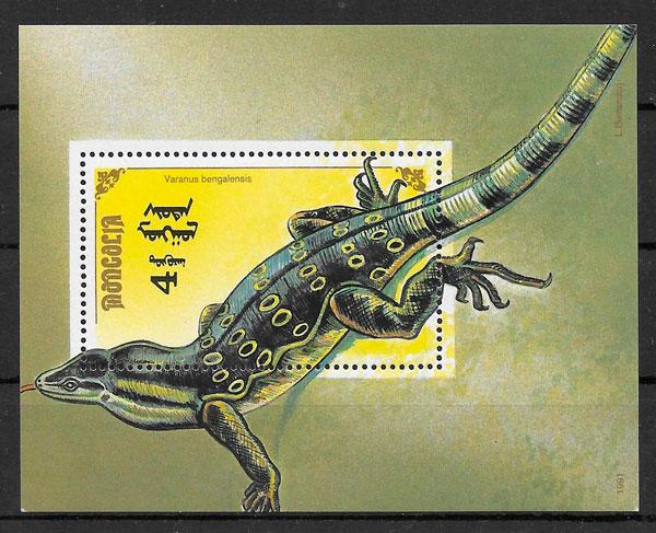 sellos fauna Mongolia 1991
