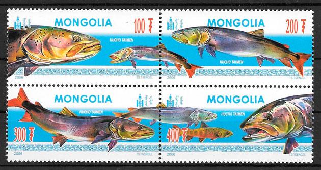 filatelia colección fauna Mongolia 2006