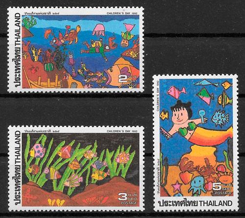 colección sellos temas varios Tailandia 1992