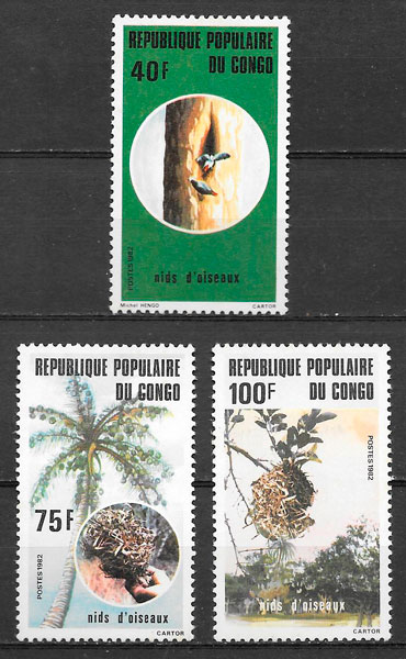 filatelia fauna Congo 1985