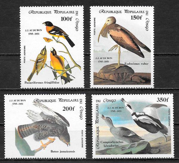 filatelia colección fauna Congo 1985