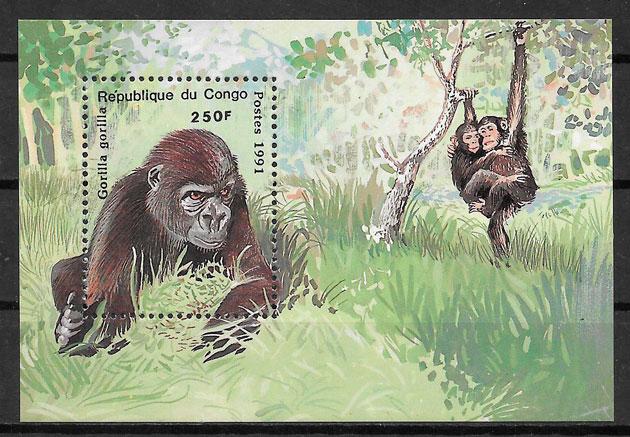 filatelia fauna Congo 1991
