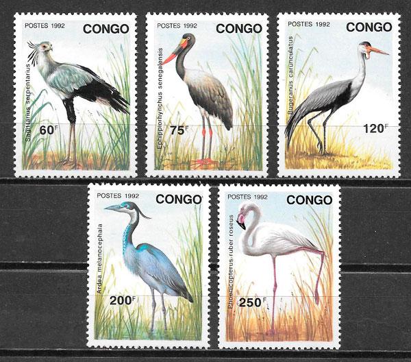 filatelia colección fauna 1992 Congo