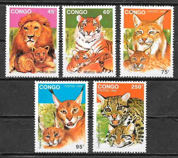 filatelia colección fauna Congo 1992