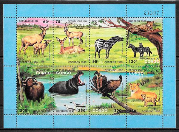 colección sellos Congo fauna 1993