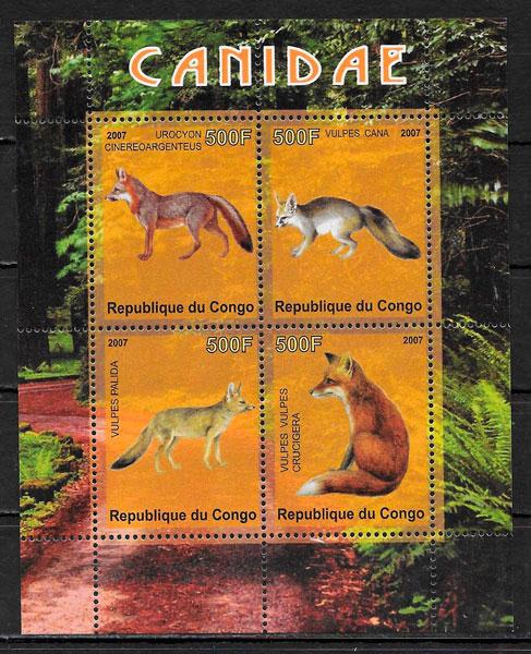filatelia fauna Congo 2007